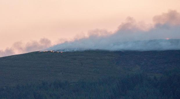 Smoke billows out along the Glenshane Pass yesterday
