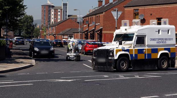 Police at the scene of the alert in the Short Strand area. Picture: Freddie Parkinson / PressEye