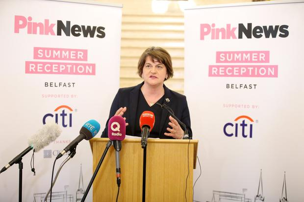 DUP leader Arlene Foster pictured at the inaugural LGBT+ reception at Parliament Buildings Stormont, Belfast / Credit: Kelvin Boyes / Press Eye.