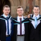Graduating today from Queen's University Belfast are friends (l-r) Steven Mulvenna from Lurgan, Scott Hamilton from Belfast, Andy McKinstry from Lisburn and Stuart Rossi from Carryduff.