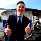 Thumbs up: winning trainer Joseph O'Brien celebrates irish Derby success with Latrobe