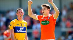 Mission accomplished: Armagh's Niall Grimley celebrates at the final whistle after their comeback against Clare