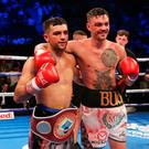 Respect: Tyrone McKenna (right) and Jack Catterall after their fight in Belfast's SSE Arena