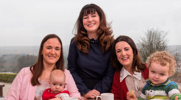 Healing process: (from left) Connie Begley with baby Donagh, Laura Begley and Marsha Begley with Liam (3)
