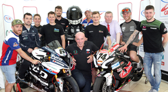 On grid: at yesterday's launch of the 2018 MCE Ulster Grand Prix are top road racers Lee Johnston, Michael Dunlop, Dominic Herbertson, Dean Harrison, Conor Cummins, Peter Hickman, Joey Thompson, Davey Todd and Adam McLean. Also included are Noel Johnston, Clerk of the Course, Paul Porter, Lisburn and Castlereagh City Council, and event mascot Big Ed
