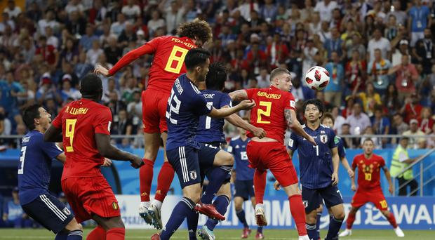 Marouane Fellaini headed Belgium's equalising goal in their dramatic victory over Japan (Rebecca Blackwell/PA)