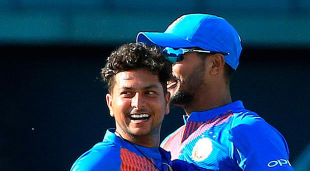 Out: Kuldeep Yadav after taking the wicket of Joe Root