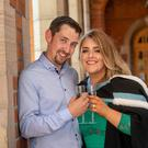 Newly graduated Stephanie Kirwan with her fiancée Donal Begley.