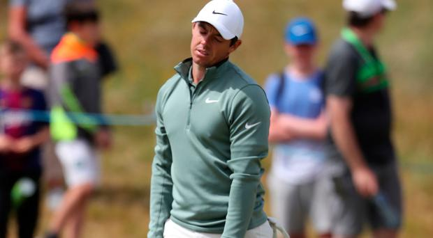 Northern Ireland's Rory McIlroy had a dismal day on the greens at Ballyliffin.