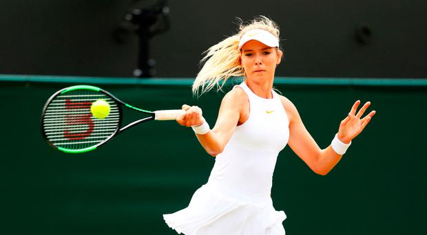 Learning curve: Britain's Katie Boulter in action yesterday during her second round loss to Japan's Naomi Osaka