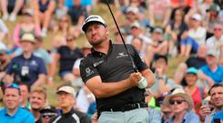 Graeme McDowell on the 8th tee during day two of the Dubai Duty Free Irish Open at Ballyliffin Golf Club.