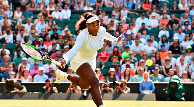 Staying focused: Serena Williams on her way to victory against Kristina Mladenovic