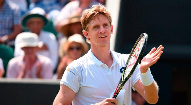 On march: Kevin Anderson is into the last-16 of Wimbledon