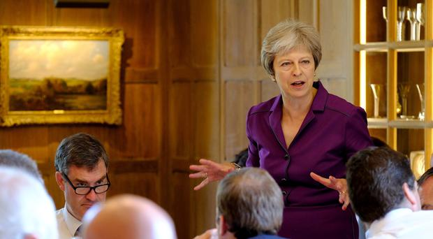 Prime Minister Theresa May speaking during a Cabinet meeting at Chequers (Joel Rouse/Crown Copyright/PA)