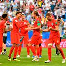 England's players celebrate at the end of the Russia 2018 World Cup quarter-final against Sweden