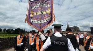 The annual Drumcree parade takes place during the 20th Anniversary year of protest in Portadown, on Sunday. The parade was prevented from walking down the Garvaghy road on their return to Carlton Street Orange Hall. Pic Colm Lenaghan/Pacemaker