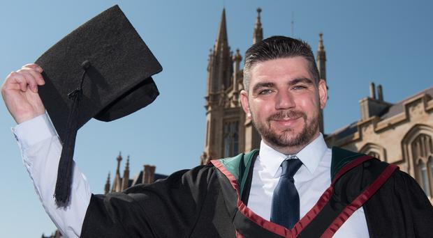 Londonderry man Ciaran Boyle has graduated from Ulster University with a first-class honours degree in law despite leaving school with no qualifications to help raise his siblings