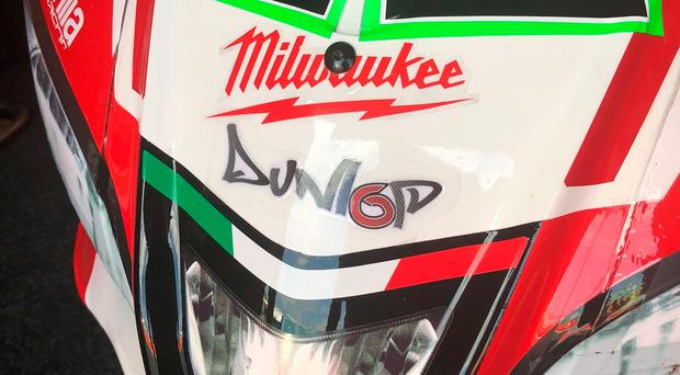 Tribute: Eugene Laverty's WSB machine with motif tribute to William Dunlop
