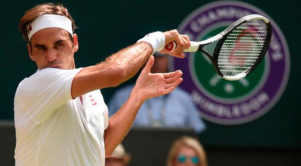 Hot Rog: France's Adrian Mannarino had no answer to Roger Federer (pictured)