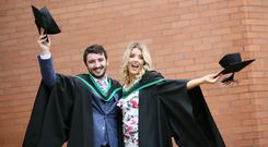 Graduating from Ulster University Magee today is Michael Lynch from Castlederg ( Business information Systems) and Rhiannon Heggarty from Strabane (HR Management Marketing). Pic By Paul Moane