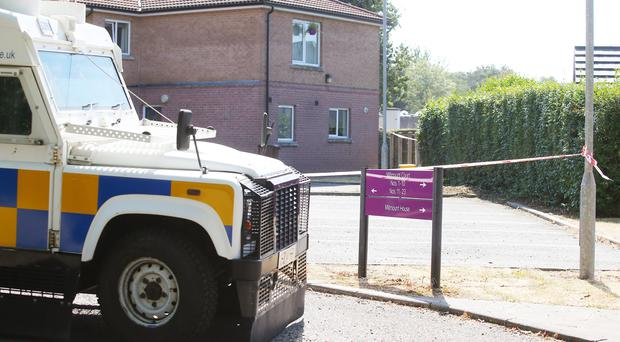 The scene at Millmount Court in Banbridge were the body of man in his 50s was found late on Monday afternoon. Police have launched an investigation and a 28-year-old man has been arrested. Picture by Jonathan Porter/PressEye