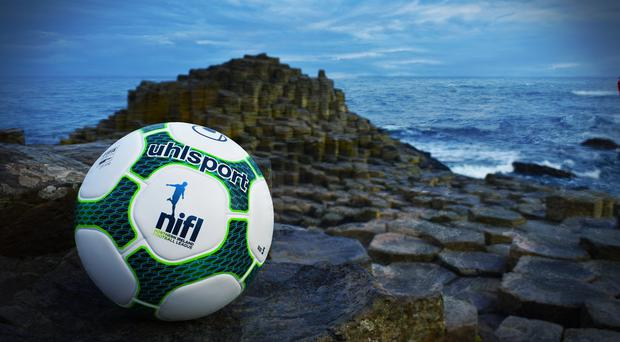 NIFL's new match ball features a nod to the rocks at the Giant's Causeway.