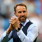 England boss Gareth Southgate found himself talking about rubber chickens and waistcoats (Tim Goode/PA)