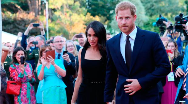 Crowds greet the Duke and Duchess of Sussex at the British Ambassador's residence in Dublin