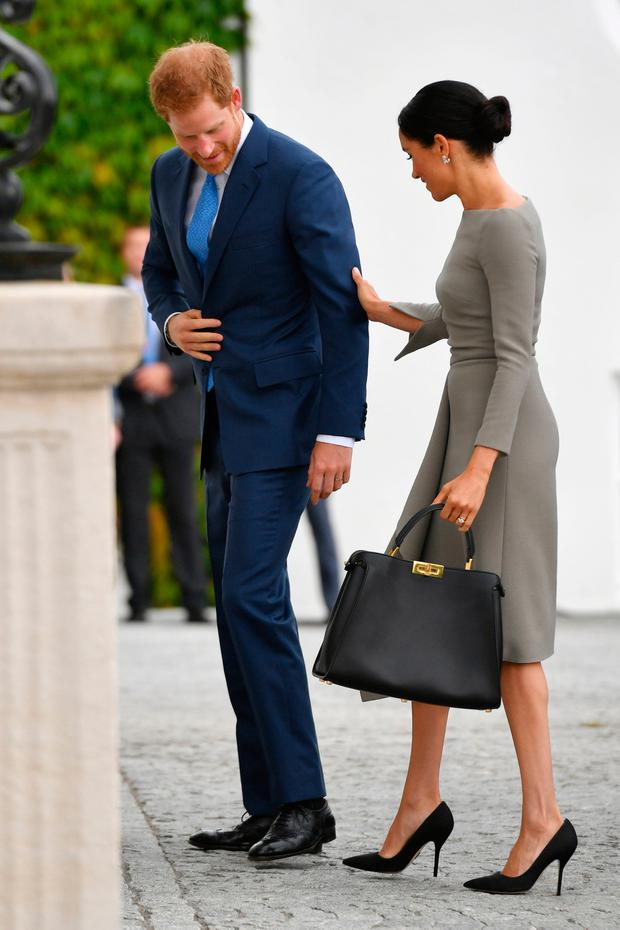 The Duke and Duchess of Sussex arriving to meet Michael Higgins at Aras an Uactharain on the second day of the Royal couple's visit to Dublin, Ireland (Joe Giddens/PA Wire)