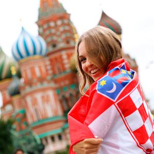 A Croatia fan in Red Square ahead of the FIFA World Cup, Semi Final match at the Luzhniki Stadium, Moscow. PRESS ASSOCIATION Photo. Picture date: Wednesday July 11, 2018. See PA story WORLDCUP Croatia. Photo credit should read: Aaron Chown/PA Wire. RESTRICTIONS: Editorial use only. No commercial use. No use with any unofficial 3rd party logos. No manipulation of images. No video emulation.