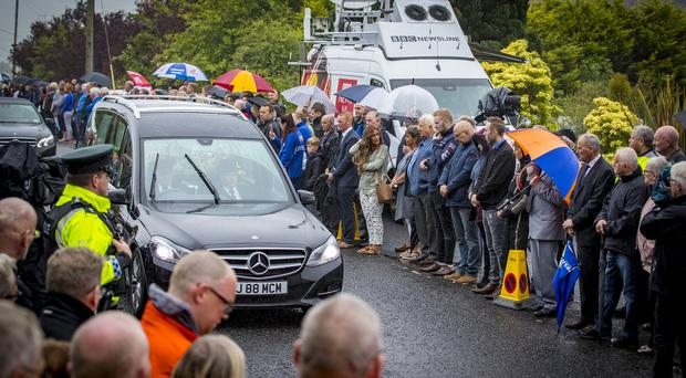 The funeral of William Dunlop takes place in Ballymoney on July 11th 2018 (Photo by Kevin Scott for Belfast Telegraph)