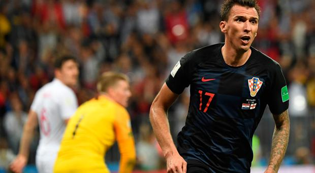 Croatia forward Mario Mandzukic celebrates after putting his side ahead in extra-time.
