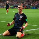 Ivan Perisic celebrates scoring during Croatia's World Cup semi-final win over England.