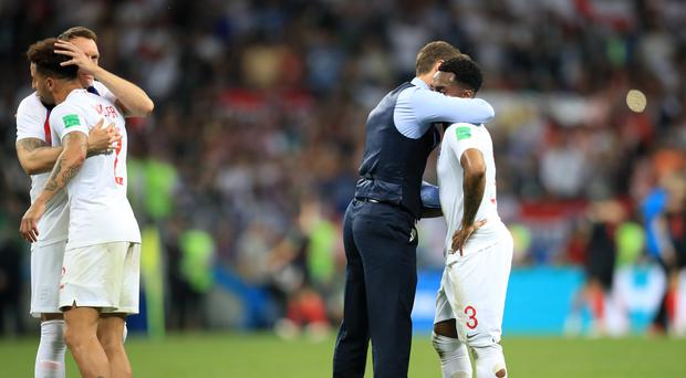 England manager Gareth Southgate consoles his players as they crashed out of the World Cup in the semi-finals (Adam Davy/PA)