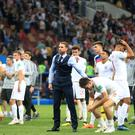 England's Harry Maguire and manager Gareth Southgate after the FIFA World Cup, Semi Final match at the Luzhniki Stadium, Moscow.
