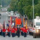 An Orange Order parade in the Ardoyne area of Belfast, as part of the annual Twelfth of July celebrations, marking the victory of King William III's victory over James II at the Battle of the Boyne in 1690. Pic: Niall Carson/PA Wire