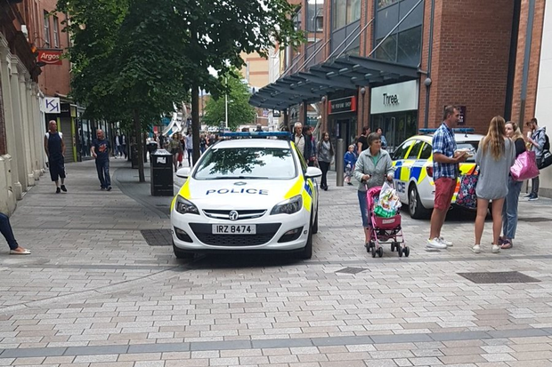 Police at the scene at Victoria Square. Pic: Elizabeth McGrogan