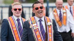 Brent Crawford enjoys his day during the Twelfth demonstration in Londonderry. Picture Martin McKeown. Inpresspics.com. 12.07.18