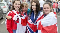 12/07/18 McAuley Multimedia..Amy Patterson, Bessie Cully, Nathalie Cully and Bethany McCombe in Garvagh during the Twelfth celebrations. Pic Steven McAuley/McAuley Multimedia