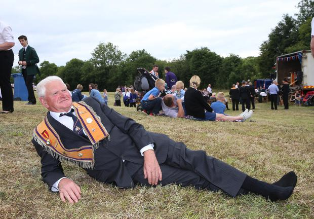 Bro. Noel Hutchinson, LOL 464 taking a rest during the Twelfth Celebrations in Brookeborough, Co.Fermanagh. Picture by John McVitty, Enniskillen, Co.Fermanagh, N.Ireland - 07771987378