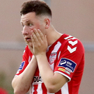 Conor McDermott was sent off for Derry City.
