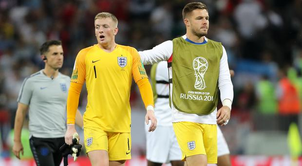 Jack Butland, right, has been a back-up for Jordan Pickford during the tournament (Owen Humphreys/PA)