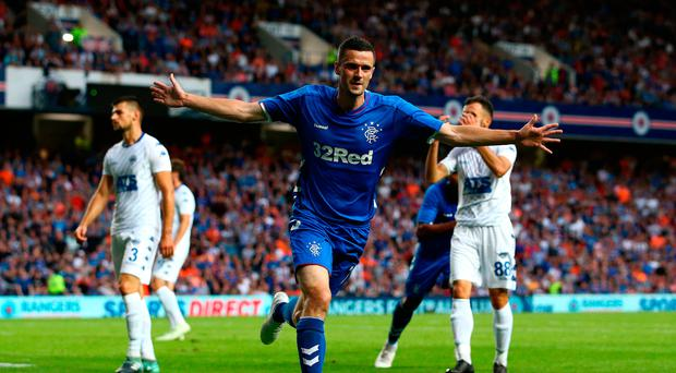 Net gains: Jamie Murphy celebrates opening the scoring for Rangers in the Europa League first qualifying round against Shkupi.