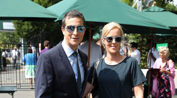 Bear and Shara Grylls on day 11 of the Wimbledon Championships (Jonathan Brady/PA)