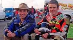 1/11/2000: Robert Dunlop with his son, William (16). William rode his Dad's 125cc Honda for his first taste of racing at Aghadowey.