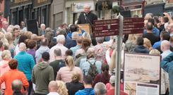 Bishop Donal McKeown in Derry's Fahan Street where hundreds of people came together during a rally against attacks on the communities of the Fountain Estate and Bogside areas of the city. Picture Martin McKeown.