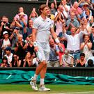 Job done: Kevin Anderson is relieved after his mammoth victory