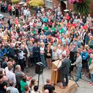 The rally in Fahan Street where hundreds of people came together to oppose attacks on the communities of the Fountain estate and Bogside