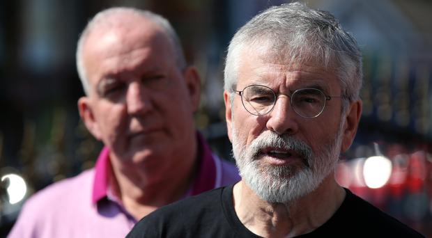 Former Sinn Fein President Gerry Adams speaks to the mid after an explosive device was thrown his home in west Belfast. The home of Sinn Fein member Bobby Storey was also attacked. - Credit: Kelvin Boyes / Press Eye.