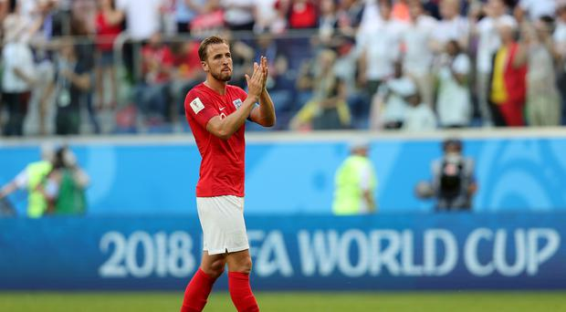 Harry Kane applauds the fans after England's third-place play-off defeat to Belgium (Aaron Chown/PA)